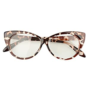 Beison Vintage Cateye Optical Eyeglasses Frame Plain Glasses Clear Lens (Leopard, 54mm)