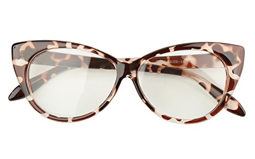 Beison Vintage Cateye Optical Eyeglasses Frame Plain Glasses Clear Lens (Leopard, 54mm)