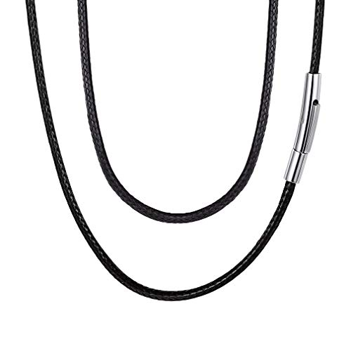 - FaithHeart Braided Leather Cord Necklace with Stainless Steel Durable Snap Clasp, 2mm Men Women DIY Woven Wax Rope Chain for Pendant, 16 Inches