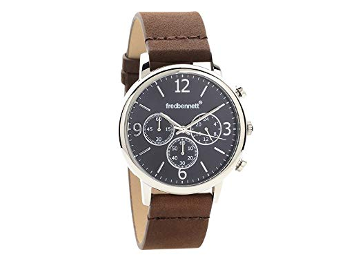 a20d82fae Fred Bennett Men Chronograph Brown Leather Strap Wrist Watch Water  Resistant: Amazon.co.uk: Watches