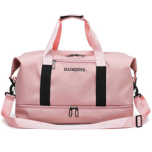 Gym Travel Bag with Shoe Compartment Dance Bag Duffle Tote Shoulder Bag for Men and Women Messenger Water Resistant Bags (pink)