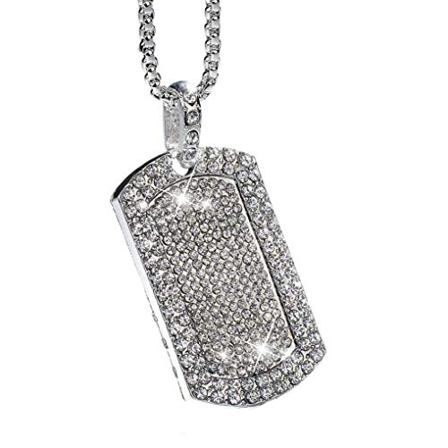 - Eleusine Men Pendant Filled Iced Out Rhinestone Gold Color Charm Square Dog Tag Necklace with Cuban Chain Hip Hop Jewelry (Silver)