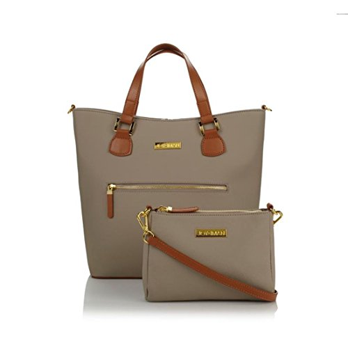 JOY & IMAN Alexandria Leather Tote and Crossbody Zip Pockets Taupe NEW 539-083
