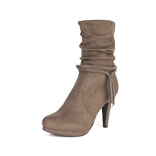 DREAM PAIRS Women's VIVI Khaki Mid Calf High Heel Boots Size
