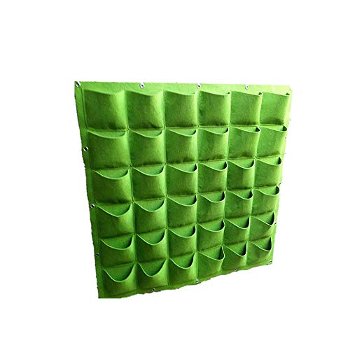 DODXIAOBEUL Vertical Wall Garden Planter Balcony Vegetable Plant Decoration Hanging Planting Bag Wall Mount Nursery Planter Solution (40 in x 40 in) Green (36 Pockets)