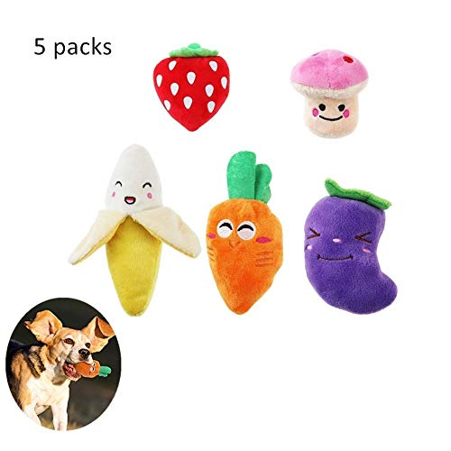 Interative Squeaky Dog Toys for Small Dogs Plush Puppy Dog Toys Pet Supplies Multi-Colors Fruits Vegetables, 3.5 to 6.9inch 5 Packs
