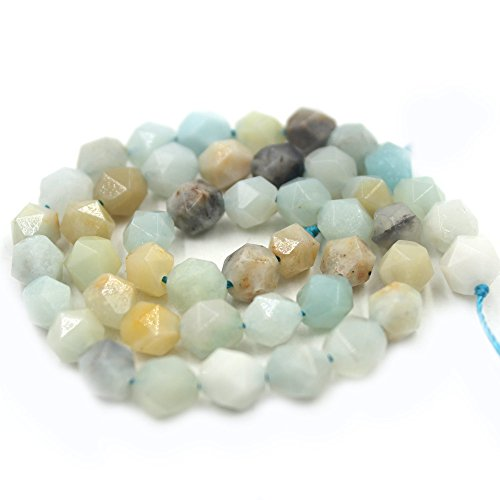 SR BGSJ ® Jewelry Making Natural 8mm Round Shape Polygonal Faceted Mixed Amazonite Gemstone Loose Spacer Loose Craft DIY Beads Strand 15