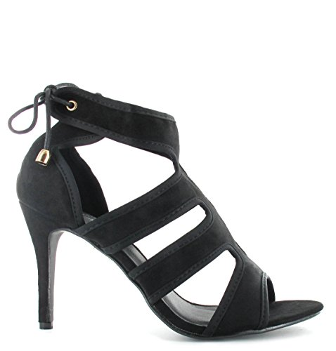 Damen Damen High Heels Stiletto Spitze Up Party Ankle Sandalen Peep Toe Größen 3�? Schwarz