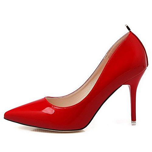 AalarDom Mujer Material Suave Sin cordones Puntiagudo Tacón de aguja De salón Rojo-Metal
