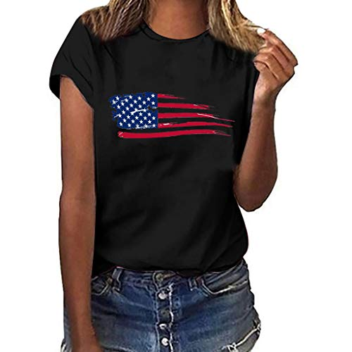 Women July Fourth T-Shirt National Flag Independence Day Print Short Sleeve Tops D Black