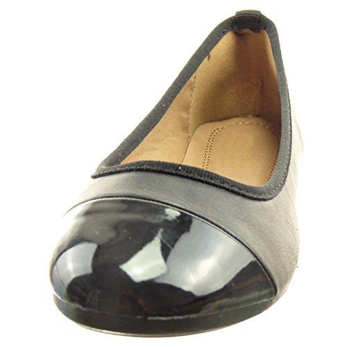 Sopily - Zapatillas de Moda Bailarinas flexible Tobillo mujer brillantes patentes Talón Tacón ancho 1 CM - Negro