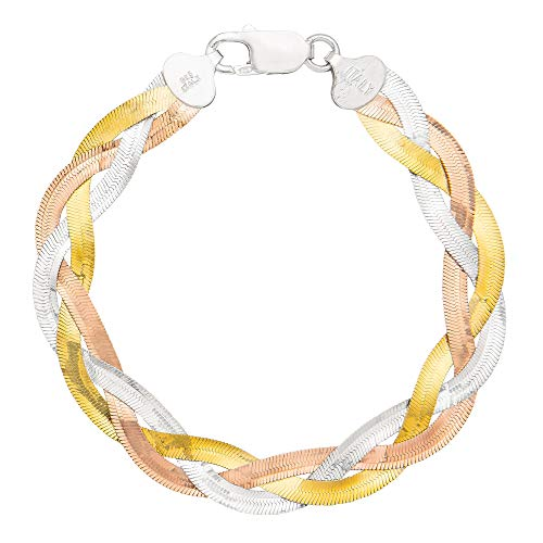 Ellen Tracy Sterling Silver Tri Color Braided Bracelet, Made in Italy ()