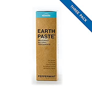Redmond Earthpaste - Natural Non-Flouride Toothpaste, Peppermint, 4 Ounce Tube (3 Pack)