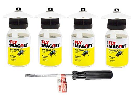 Victor M380 Fly Magnet Reusable Trap With Bait (1 Quart -4 Pack BUNDLE)
