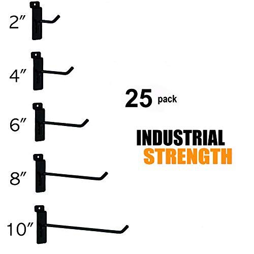 Only Hangers Commercial Grade Slatwall Hooks - Combo Pack of 25 Assorted Size Peg Hooks for Slatwall - (5) of Each 2'',4'',6'', 8'' and 10'' Hooks by Only Hangers