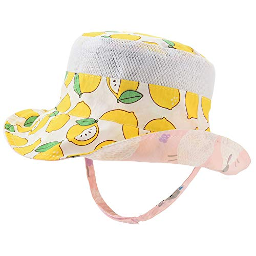 Baby Sun Hat Double Sides - Toddler Sun Protection Hat UPF 50+ Kids Summer Play Pool Beach Fishing Bucket(Lemon/Sheep,50cm)