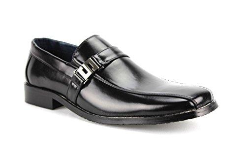 Aldo Marciano Men's AM-12385 Black Slip On Dress Casual Shoes W/ Leather Lining, Black, 10