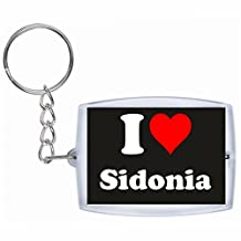 """Exclusive Gift Idea: Keyring """"I Love Sidonia"""" in Black, a Great gift that comes from the Heart - Backpack pendant - love pendant - Keychains- Keyring- Christmas Gift"""