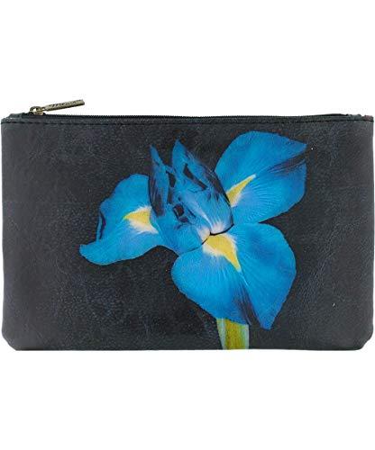 Royalty Free Photographs Flowers - Mlavi indigo iris flower print vegan/faux leather medium pouch