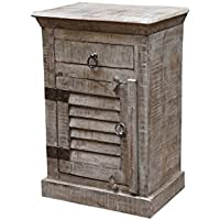 Moti Furniture 52014002 Troy Shutter Door and Drawer Night Stand, Grey