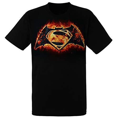 Batman Vs. Superman Flames Logo Tee Shirt X-Large Black
