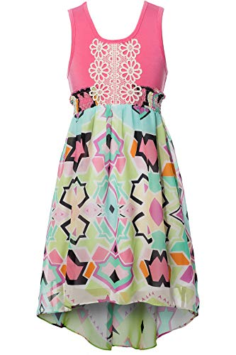 Truly Me, Big Girls' Sleeveless Empire Waist Printed Maxi Dress with High-Low Hem and Crochet Trim, Size 7-16 (Pink Geo, 12)