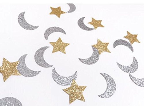 Double-Side Gold Glitter Star and Glitter Silver Moon Confetti Wedding Bithday Parties Bridal Shower Confetti Baby Shower Decorations Table Scatters Setting, -