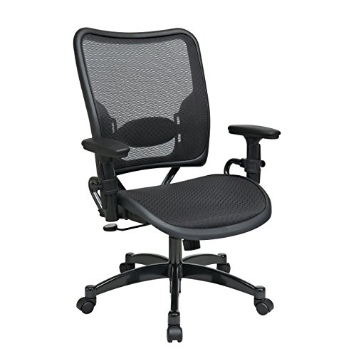 SPACE Seating Deluxe AirGrid Dark Back and Seat, 2-to-1 Synchro Tilt Control, Adjustable Arms, Tilt Tension and Lumbar Support with Gunmetal Finish Base Managers ()