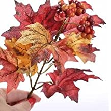 Factory Direct Craft Fall Artificial Silk Maple Leaf Picks with Fall Berry Cluster Accent - 12 Picks