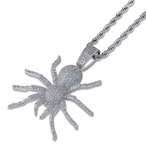 JINAO Hip Hop Iced Out Spider Design Pendant Necklace with Micropave Simulated Diamond (Silver)