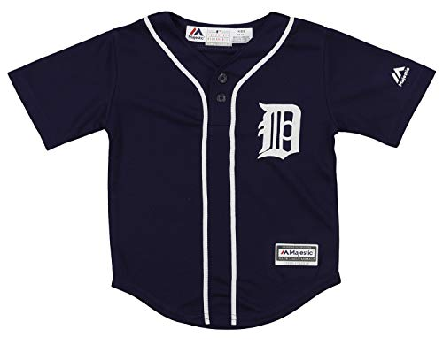 Outerstuff MLB Toddler's Detroit Tigers Cool Base Henley Tee, Navy 4T