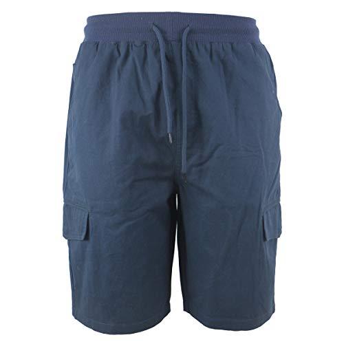 Two Pocket Waist Elastic (Leehanton Men's Soft 100% Cotton Twill Cargo Shorts Elastic Waist (32, Navy))