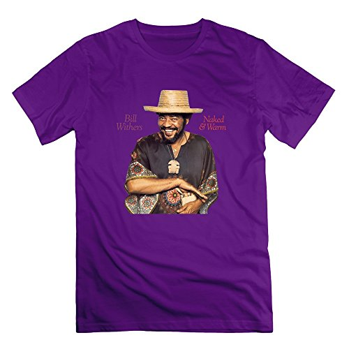 Jiaso Men's Funny Bill Withers Naked Warm T-shirt Purple Large (The Best Of Bill Withers Lovely Day)