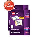 """Avery Name Badges with Lanyards, Print or Write, 3"""" x 4"""",  Badge Holders & Lanyards, 200 Inserts (74459) - 44459"""