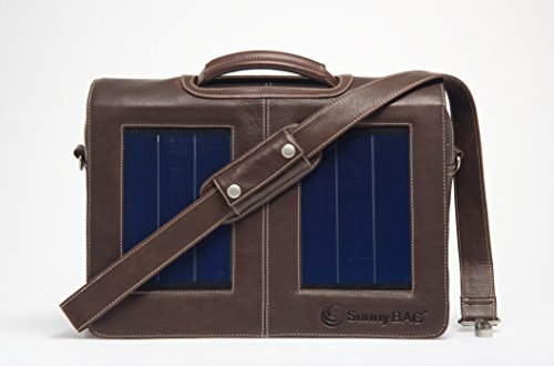 SunnyBAG Business Professional Solartasche mit 3 Watt Solarpanel für 15 Zoll Notebook, Businesstasche, Umhängetasche, Aktentasche, Notebook-Tasche, Laptop-Tasche aus Leder, braun Braun