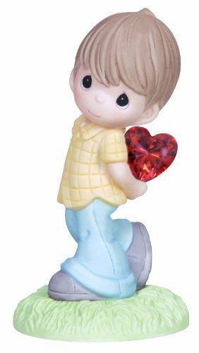 (Precious Moments Figurine, Boy with Heart Behind Back)