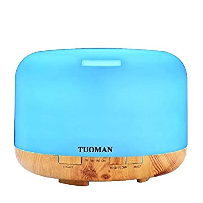 TUOMAN Aromatherapy Essential Oil Diffuser Portable Ultrasonic Cool Mist Diffusers With 7 Color LED Lights Waterless Auto Shut-off