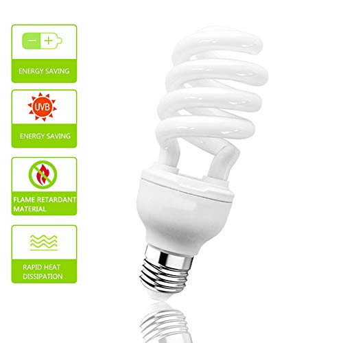(Sparkzoo Energy Saving Lamps UVB Bulb,Spiral Compact 13 Watts 26 Watts UVB 10.0 Reptile Light Bulb Fit for Desert Type Reptile/Snake/Lizard/Insect/Leopard Tortoise (13W))