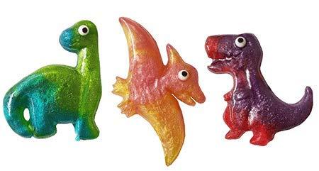 Trendy Dinosaur Shape Hard Candy Lollipops 100% USA Made Fun Fruit and Glitter Swirls (Gift Cupcake Baby Basket)