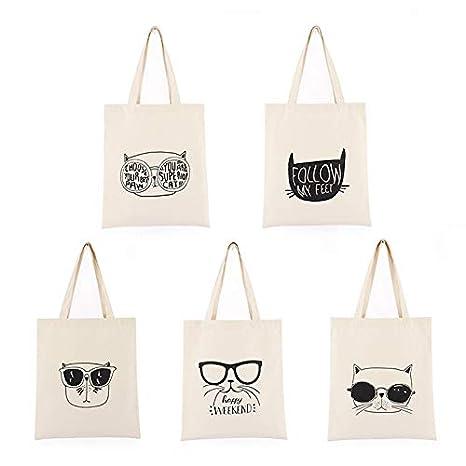 LAAT Bolsa de Tela para Mujer y Hombre Bolsas de Supermercado con Patr/ón de Gato de Dibujos Animados