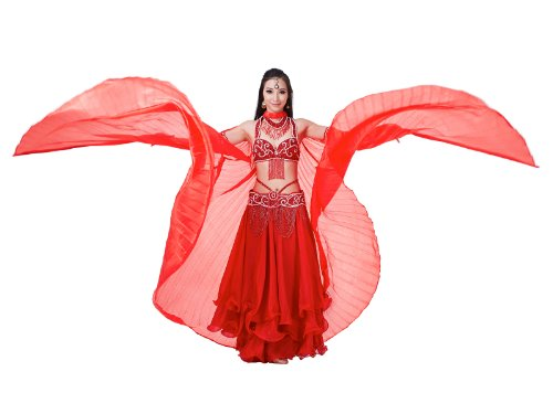 Dance Fairy 2016 Red Silk Belly Fance Isis Wings Dance Costumes with Sticks (Red Belly Dancing Costume)
