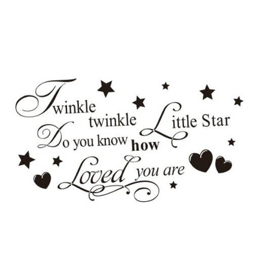 Removable Twinkle Twinkle Little Star Quote Wall Sticker Kids Bedroom Decal