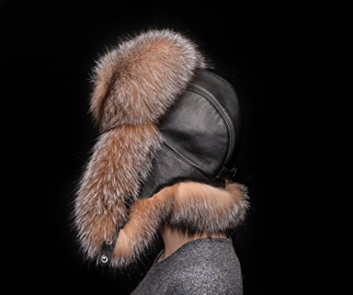Golden Frost Silver Fox Fur Genuine Leather Handmade Men's Bomber Aviator Hat by Your Furrier