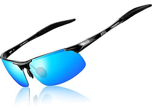 ATTCL® 2016 polarisierende Metal Sonnenbrille herren Sportbrille Black-Blue 8177