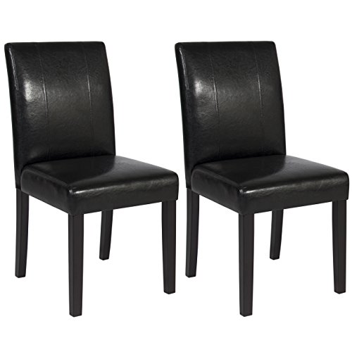 Best Choice Products Set of (2) Black Leather Dining Chairs Elegant Design Contemporary Home Office