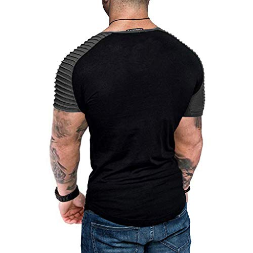 Fashion Shirt for Men, SFE Men's Letter Splicing Pattern Casual Lapel Short Sleeve Shirt Gray -