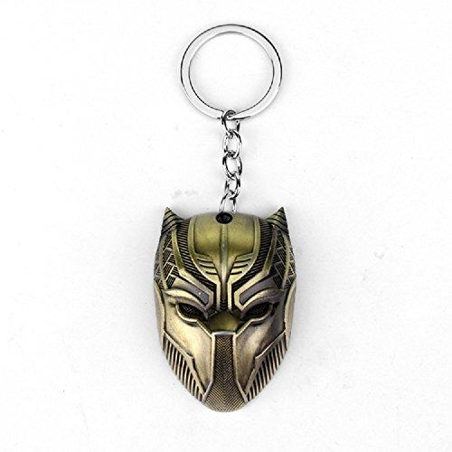 Black Panther Key Chain Game Movie Flim metal mask souvenir (Gold) -