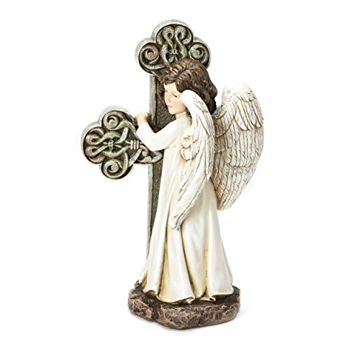 Joseph's Studio Standing Angel with Cross Garden Statue, 11.75-Inch, Made of Resin Stone For Sale