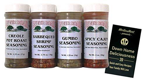 River Road by Fiesta Cajun Seasoning Favorites 4 Flavor Variety Plus Recipe Booklet Bundle, 1 each: BBQ Shrimp, Creole Pot Roast, Gumbo, Spicy Cajun (1.25-2.75 Ounces)
