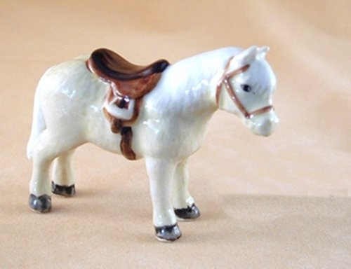 Dollhouse Miniatures Ceramic White Horse With Saddle for sale  Delivered anywhere in USA